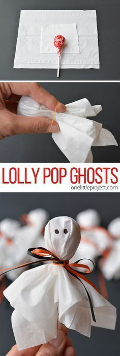 These lolly pop ghosts are SO CUTE! They're super easy and make a fun treat to send to school for Halloween! These lolly pop ghosts are SO CUTE! They're super easy and make a fun treat for a Halloween party or to send to school on Halloween! Soirée Halloween, Adornos Halloween, Manualidades Halloween, Halloween Goodies, Halloween Food For Party, Holidays Halloween, Easy Halloween Snacks, Halloween Projects, Halloween Crafts For Kids To Make