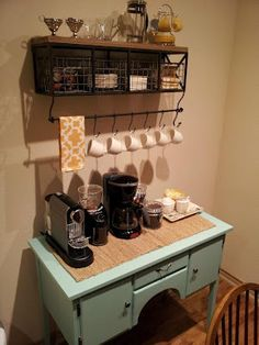 If you have a small nook or surface, set up a separate coffee bar so this stuff does not clutter up your regular counter work space.