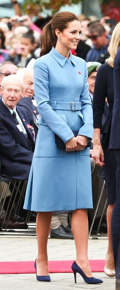 Duchess Kate wearing cornflower blue Alexander McQueen Belted Coat Dress for Day in Blenheim