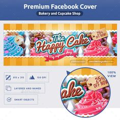 Bakery FB Cover - Facebook Timeline Covers #Social Media Facebook Cover Template, Facebook Timeline Covers, Cupcake Shops, Edit Text, Information Graphics, Fb Covers, Text Color, Cover Photos, Bakery