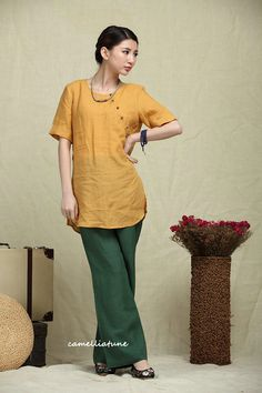 Linen Tunic Blouse Top / Yellow Shirt / Blouse by camelliatune
