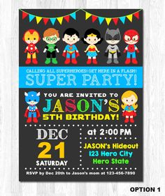 Superhero Digital Invite  * This is printable file and no physical items will be mailed to you.  --------------★★★ PURCHASING INSTRUCTIONS ★★★--------------  * Select 1 quantity and Purchase this item to complete checkout.  Upon check-out, please leave the following information in NOTE TO SELLER:  1. Name & Age 2. Party Date 3. Time 4. Address & Venue 5. RSVP Information (phone number and/or email address) 6. Any other details you would like to include  * Size of Card is 5 x 7 in...