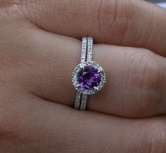14K White Gold 6mm Amethyst Round and Diamonds Engagement Ring and Wedding Band Set