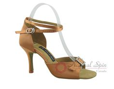Natural Spin Signature Latin Shoes(Open Toe, Adjustable):  H1112-01_DrTanS