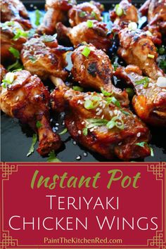 Instant Pot Teriyaki Wings are a delicious appetizer, perfect for a party. This easy Instant Pot teriyaki chicken wings recipe is sure to become a favorite. The Asian flavors make for a crowd pleaser recipe, great for super bowl parties! Best Instant Pot Recipe, Instant Pot Dinner Recipes, Instant Pot Wings Recipe, Instant Pot Pressure Cooker, Pressure Cooker Recipes, Pressure Cooker Chicken Wings, Slow Cooker, Pressure Cooking, Instapot Chicken Wings