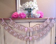 Baptism Banner - made my own with burlap and jute twine.