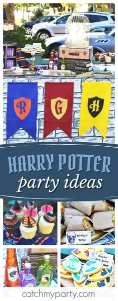 Don't miss this magical Harry Potter Hogwarts Express birthday party. The dessert table is fantastic!! See more party ideas and share yours at CatchMyParty.com