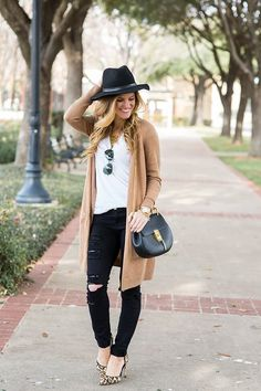 Fall Going Out Outfit Idea: long tan cardigan outfit, black fedora, chloe drew bag // brightontheday outfit, fall outfit idea, long camel cardigan outfit, how to wear a long cardigan, black jeans outfit, transitional style, simple fall outfit, leopard heels