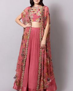 Magento pink georgette indowestern lehenga choli with shrug - Fabric :Georgette lehenga with meter flairDigital print georgette koti with sequence border work( full stitch up to 44 )(Length 56 )Banglori satin blouse with thread embrMagento pink georget Indian Wedding Outfits, Indian Outfits, Indian Designer Outfits, Designer Dresses, Indian Fashion Trends, Indowestern Lehenga, Sharara, Lehnga Dress, Lehenga Blouse