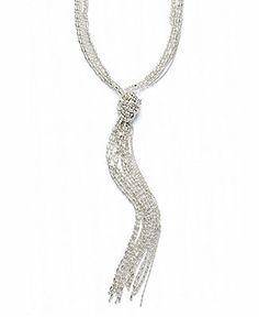 Alfani Necklace, Silver-Tone Shot Bead Lariat - Fashion Jewelry - Jewelry & Watches - Macy's