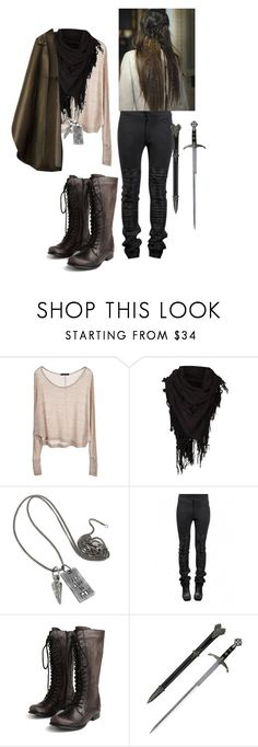 """Merlin Inspired"" by queenlionheart ❤ liked on Polyvore featuring Brandy Melville, AllSaints, CÉLINE, Bed Head by TIGI, Miz Mooz and S.W.O.R.D."