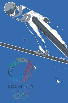 Third in a series showing the Hetalia Nordics as athletes in the 2014 Sochi Winter Olympics: Tino as a ski jumper - Art by inverted-typo.tumblr.com