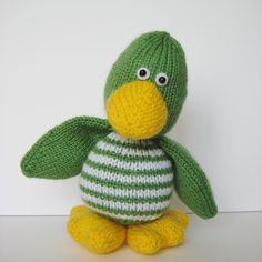 Quacky duck toy knitting pattern knit a cute by fluffandfuzz