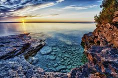 Another beautiful sunrise over Lake Michigan and Cave Point County Park in Door County, Wisconsin Wisconsin Vacation, Wisconsin Dells, Lake Michigan, Wisconsin Getaways, Whitefish Bay Wisconsin, Sturgeon Bay Wisconsin, Wisconsin State Parks, Madison Wisconsin, Door County Wisconsin