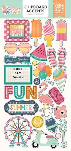 Echo Park - Summer Dreams Collection - Chipboard Stickers