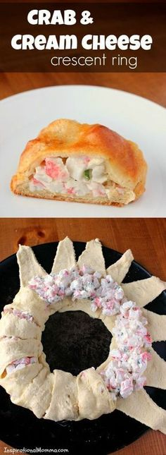 Crab and cream cheese crescent ring. With crispy, flaky crescent rolls filled a delicious crab and cream cheese mixture, this Crab & Cream Cheese Crescent Ring is simple and scrumptious! Finger Food Appetizers, Appetizers For Party, Appetizer Recipes, Snack Recipes, Cooking Recipes, Seafood Appetizers, Vegetarian Recipes, Fruit Appetizers, Dinner Recipes