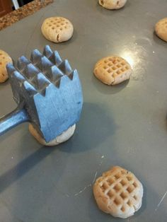 My ORIGINAL idea for getting those perfect crisscross markings on peanut butter cookies! Use a meat tenderizer!