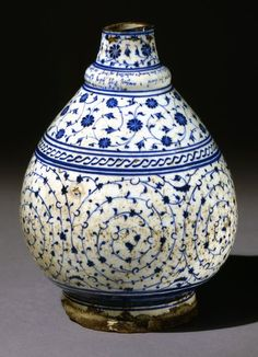 Bottle Cut down, spiral scroll and cable band decoration. Armenian inscription on base and collar includes date. Made of blue, white painted and glazed ceramic, pottery bottle; China Painting, Ceramic Painting, Ceramic Artists, Glazes For Pottery, Ceramic Pottery, Pottery Art, Vases, Spiral Pattern, Antique Bottles