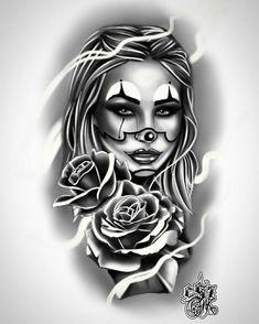 Skull Rose Tattoos, Skull Girl Tattoo, Girl Face Tattoo, Clown Tattoo, Girl Arm Tattoos, Dope Tattoos, Leg Tattoos, Body Art Tattoos, Sleeve Tattoos