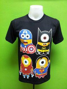 Minion Heros T Shirt Captain America Iron Batman Superman New M | eBay