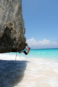 Bouldering in Tulum, Mexico, north side of the beach below the Castillo.