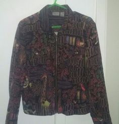 Vintage Chicos Womens Animal Print Front Zip Long Sleeve Jacket Size 1 #Chicos #LongBoxy