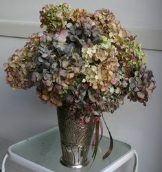 place dried hydrangeas in an old silver vase/cup on the right side of the mantel.  But much smaller than this with a simpler vase/cup (no ribbons)