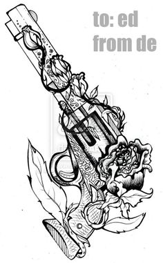 revolver tattoo sketch TatToOs ~ Guns | tattoos picture tattoo sketches