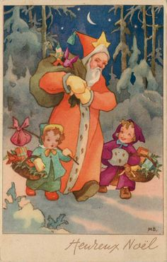 vintage Christmas card, initials MB. Anyone know who that is?