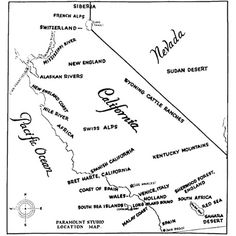 A 1927 Paramount Studio Map of southern California suggesting locations where movies could be shot, instead of going to the actual places.
