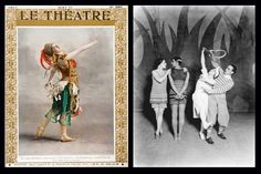 (Left) Cover of Le Théatre showing Tamara Karsavina in costume as the Firebird (May 1911) with a fillip of a white feather bustle.  (Right) A black and white photo of Ballet Russes dancers in costumes for Le Train bleu, wearing costumes designed by Chanel (Sasha – 1924.)  The Ballet Russes were founded by Serge Pavlovich Diaghilev (1872-1929) was called in turns a dictator, devil, charlatan, sorcerer, and charmer.  But he revolutionised early 20th-century arts and continues to influence…