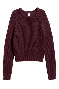 $40 Knitted jumper   Burgundy   LADIES   H&M AU