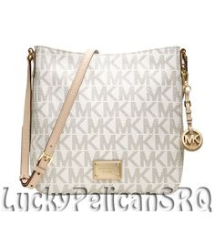05f3fe92eb38 Michael Kors Jet Set Large MK Signature PVC Messenger Crossbody Bag Vanilla  NWT  MichaelKors