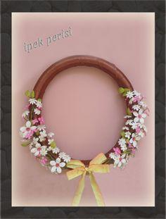 Ribbon wreath silk cacoon handmade wild flowers by ipekperisi on Etsy