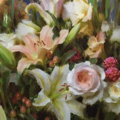 Daniel J. Keys Lily Painting, Painting Still Life, Painting & Drawing, Daniel Keys, Daniel J, White And Pink Roses, Flower Art, Amazing Art, Floral Paintings