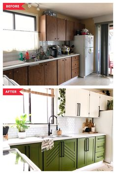 Before and After: Budget Upgrades Totally Transformed This Kitchen and Its Dark Wood Cabinets Home Renovation, Home Remodeling, Retro Renovation, Kitchen Remodeling, Cocina Diy, Dark Wood Cabinets, Refacing Kitchen Cabinets, White Cabinets, Kitchen Redo