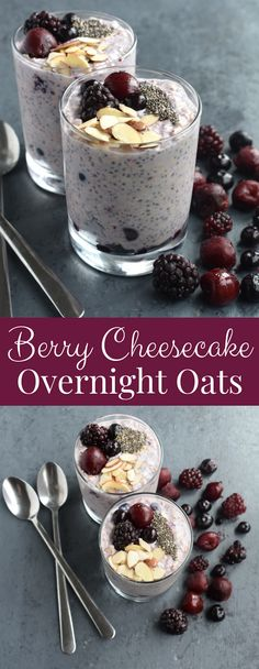 Berry Cheesecake Overnight Oats taste like your favorite dessert but are healthy with oats, Greek yogurt, cream cheese, cherries, blueberries and blackberries!nutritionistr… Source by minutritionist Overnight Oats Chocolate, Protein Overnight Oats, Overnight Oats With Yogurt, Blueberry Overnight Oats, Peanut Butter Overnight Oats, Vegan Overnight Oats, Oatmeal Jars Overnight, Yogurt Recipes, Oatmeal Recipes
