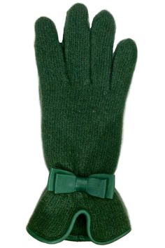 Wool Blend Knit Gloves in color Forest Green with matching leather trim at wrist and matching color mini bow on top. These gloves not only will keep your hands warm but they also look very stylish with your coat.   Hunter Knit Gloves by Santacana Madrid. Accessories - Winter Accessories Portland, Oregon