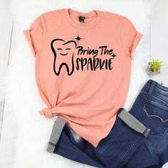 Two Dental Hygienist Stretches Dental World, Dental Life, Dental Art, Dental Hygiene School, Dental Assistant, Dental Hygienist, Dental Shirts, Dental Jokes, Gifts For Dentist