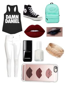 """""""Going out to DQ"""" by jj-2005-fashion on Polyvore featuring H&M, Converse, Vans, Lime Crime, Chanel, Essie, Casetify and Red Camel"""