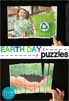 Free Earth Day Puzzles for Kids! Great way to practice ABC and 123 order.