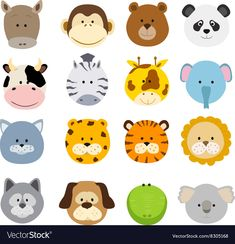 Baby Animal Cartoon Clip Art Set Of Cartoon Animals Faces Vector Collection Of Cute Jungle And Other Baby Animal Faces Set Of Cartoon Animals Faces Vector Collection Of Cute Jungle