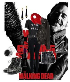 """Negan TWD"" by dutchessrules ❤ liked on Polyvore featuring New Look, Current/Elliott, Jakke, Calvin Klein, Alexander Wang, Smashbox, House of Harlow 1960, STELLA McCARTNEY, AMC and thewalkingdead"