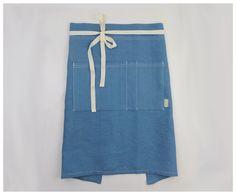 unisex cafe apron 100% indigo linen hand-screen printed - sustainable apron – celina mancurti