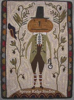 Kris Miller from Spruce Ridge Studios: Rug Of The Day - March Rug Hooking Designs, Rug Hooking Patterns, Halloween Quilts, Penny Rugs, Primitive Crafts, Primitive Patterns, Primitive Fall, Primitive Snowmen, Primitive Christmas