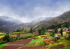 Peruvian village in mountains. Peruvian agriculture by NikaLerman, $25.00