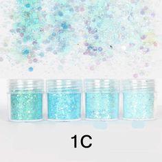 Nail Art Glitter Powder Light Blue Tips Mixed Sequins Decoration Blue Glitter Nails, Glitter Dust, Sparkles Glitter, Bling Nails, Glitter Lipstick, Bling Bling, Glitter Uggs, Glitter Face, Blue Nail