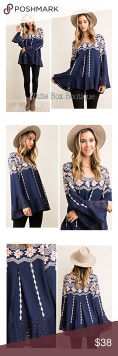 🆕Printed Lace Tunic Gorgeous navy, cream & pink border printed lace tunic. Pleat detail center. Gorgeous  bell sleeves with relaxed ruffle lace bottom. Woven. Distressed washed. Lightweight. True to size relaxed boho fit. Modeling a small in all photos Tops Tunics