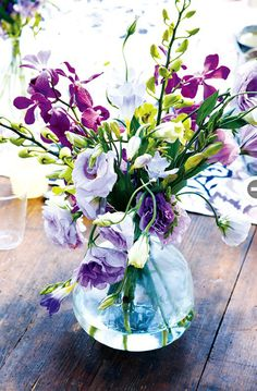 Purple flower bouquet in vase
