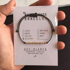 SISTER // Morse Code Nylon Cord Bracelet 14k Gold by ShopGuyBlanco